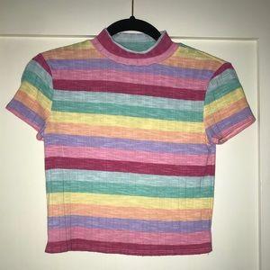 Rainbow stripe short shirt